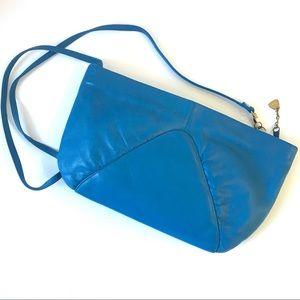 Vintage Korean Teal Leather Shoulder Purse Suede